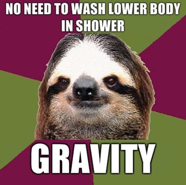 No need to wash lower body in shower gravity Funny Sloth Memes