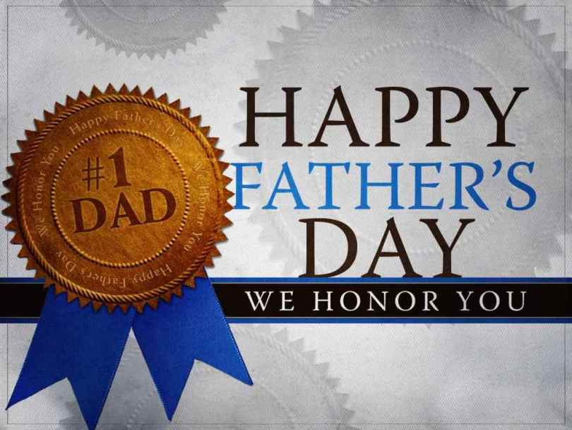 No. 1 Dad Father's Day We Honor You Greetings Image