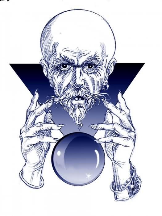 Old Man Wizard With Its Magic Ball Tattoo Design Sample