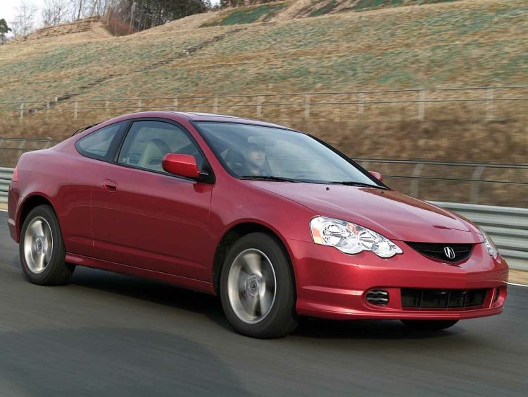 On the road of beautiful red Acura RSX Car