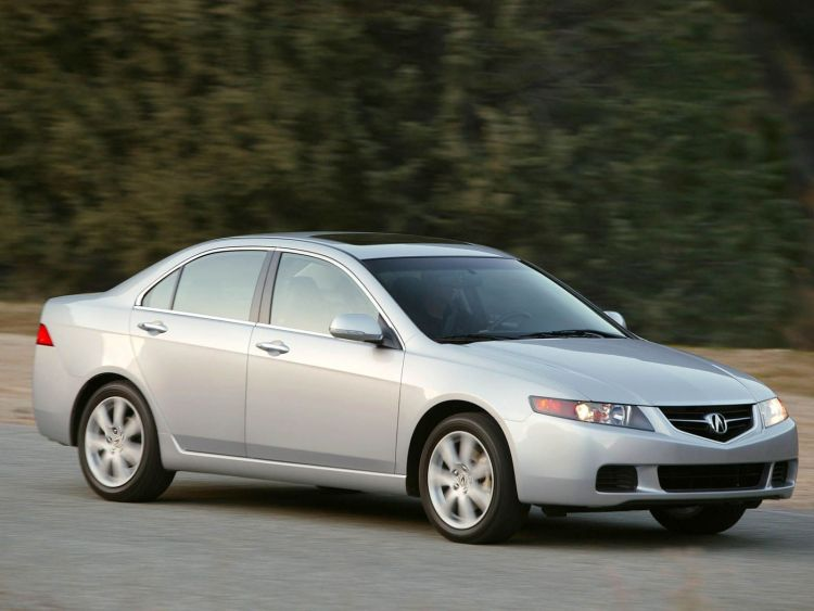 On the road of wonderful silver Acura TSX car