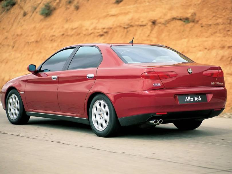 On the road red Alfa Romeo 166 Car for wallpaper