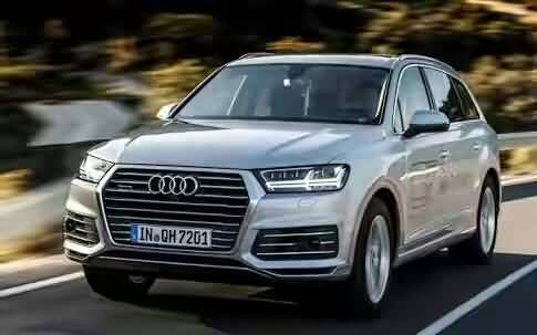 On the road view of silver audi car
