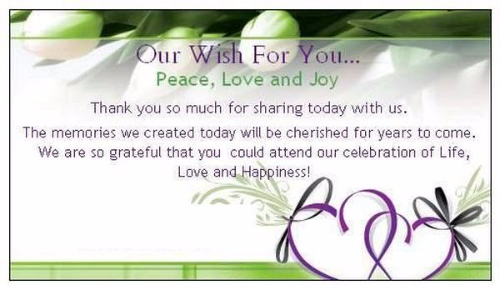 Our Wish For You Wedding Greetings Image