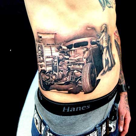 Out Standing Black And Red Color Ink Vintage Car Tattoo On Rib Side For Boys