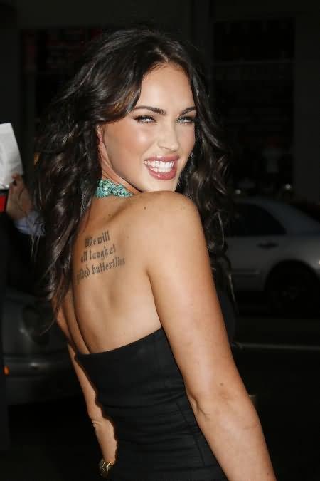 Out Standing Black Color Ink Back Shoulder Celebrity Tattoo For Girls Tattoo