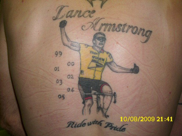 Out Standing Yellow Black And Red Color Ink Lance Armstrong Cycle Tattoo On Back For Boys
