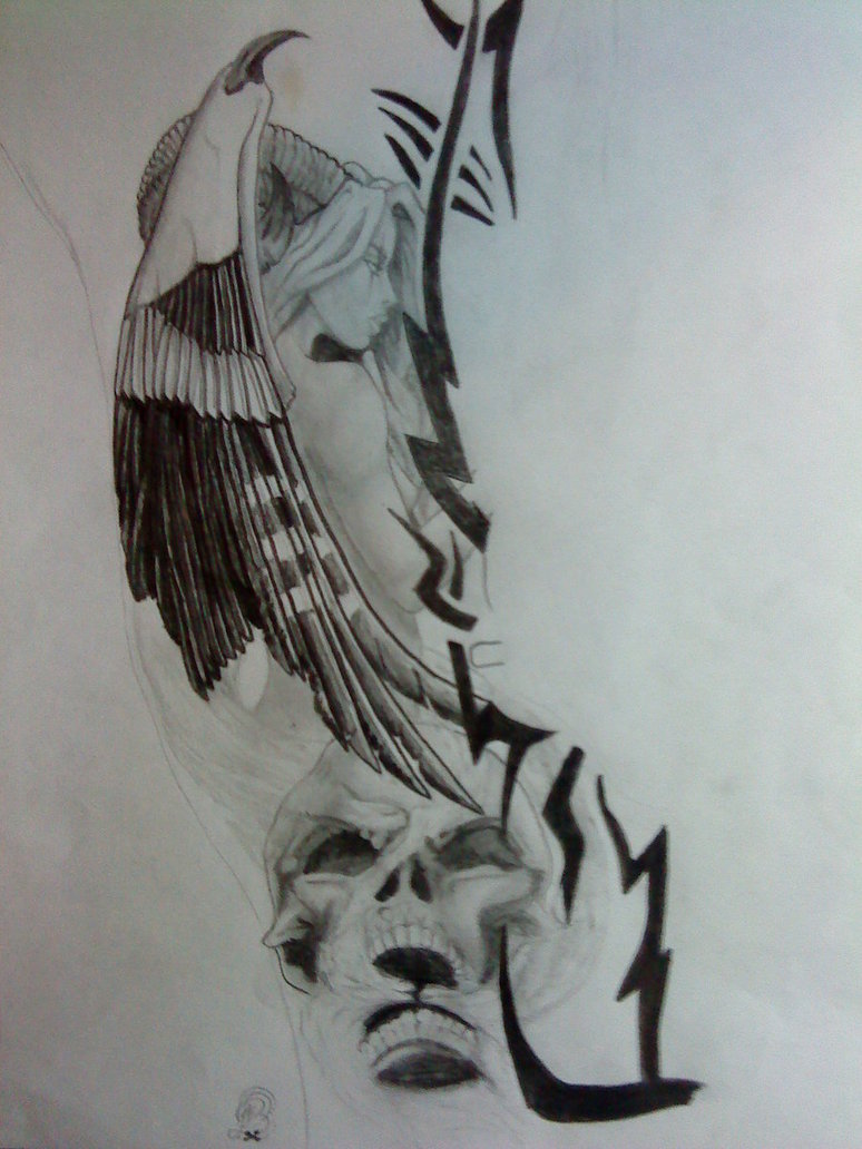 Passionate Black Color Ink Angel Of Death Tattoo Design For Girls