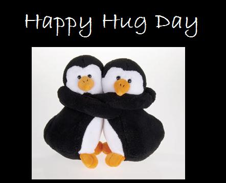 Penguins Wishes Happy Hug Day Image