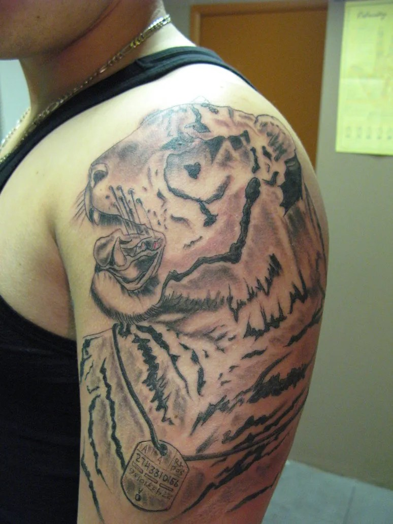 Perfect Black And Red Light Color Ink Tiger Tattoo For Biceps For Boys