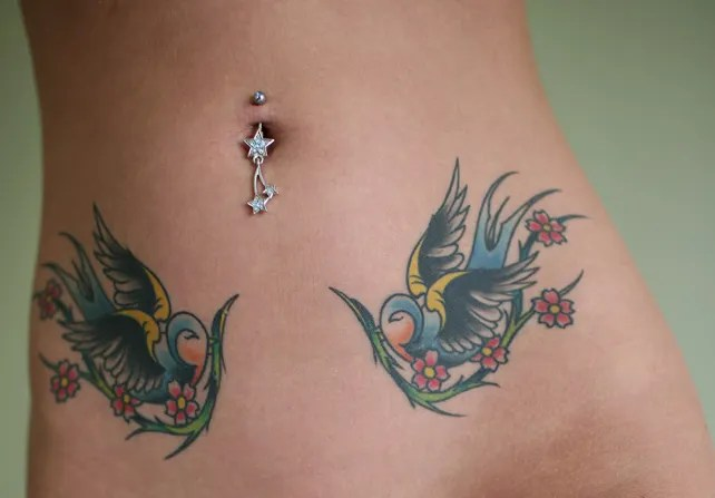 Perfect Black Blue And Green Color Ink Birds Tattoo & Belly Piercing On Belly For Girls