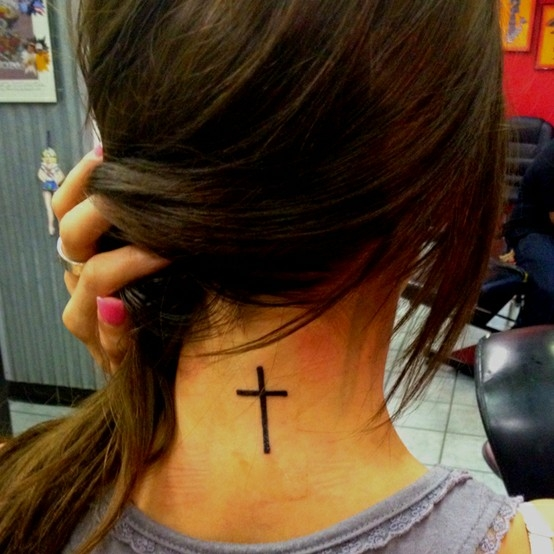 Perfect Black Color Ink Small Cross Tattoo On Neck Back For Girls