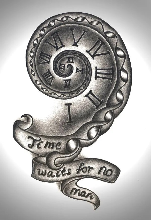 Perfect Black Color Ink Time Waits For No Man Clock Tattoo Design For Girls