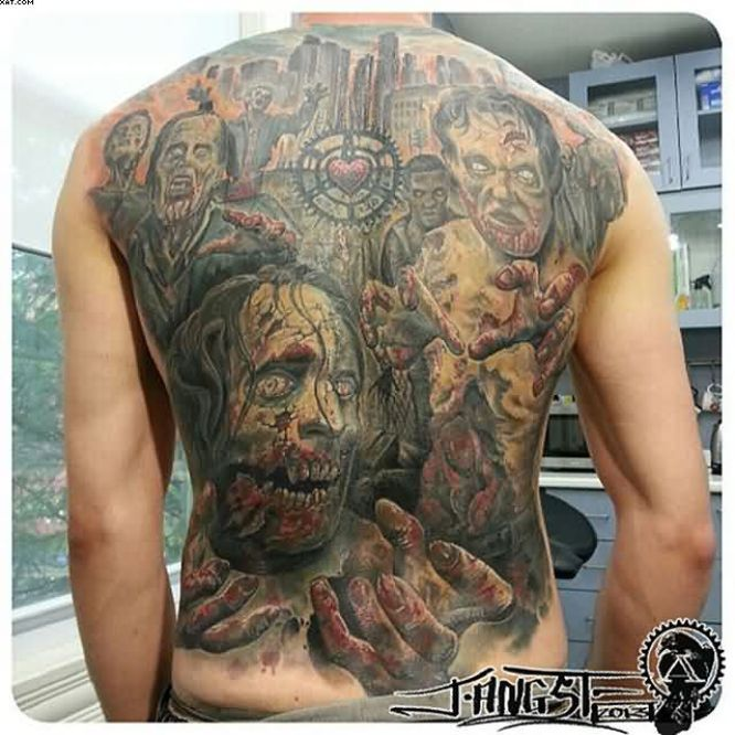 Phenomenal Zombie Apocalypse Back Tattoo For Men On Back With Colorful Ink