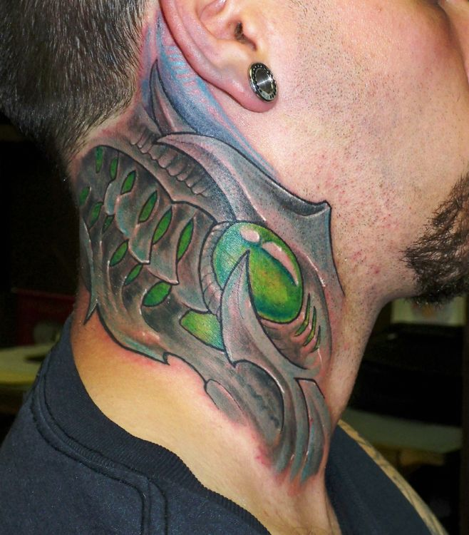 Popular Green Blue Anmd Grey Color Ink Biomechanical Tattoo On Neck For Boys