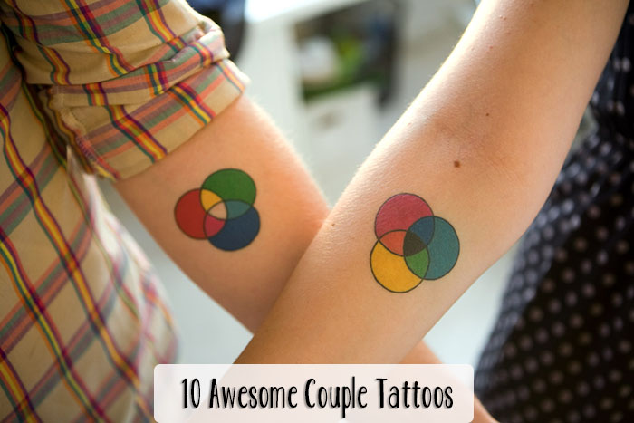 Popular Green Blue Red And Black Color Ink Colored Circles Tattoo For Lovers