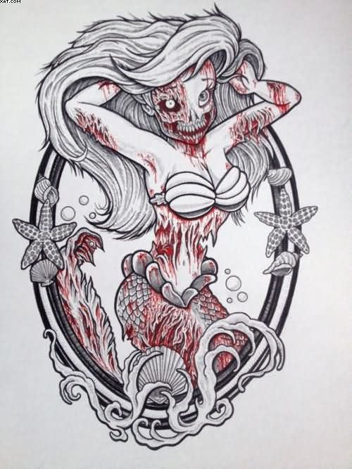 Ready Zombie Disney Princess Tattoo Design To Be Made On Back