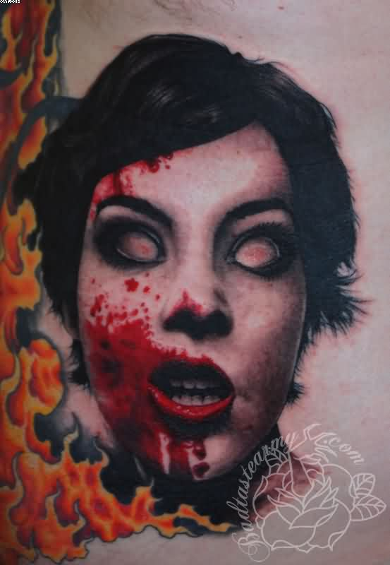 Real Bloody Zombie Woman Face Tattoo