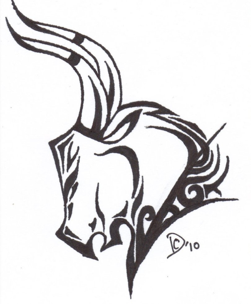 Realistic Black And White Color Bull Tattoo Design On For Boys