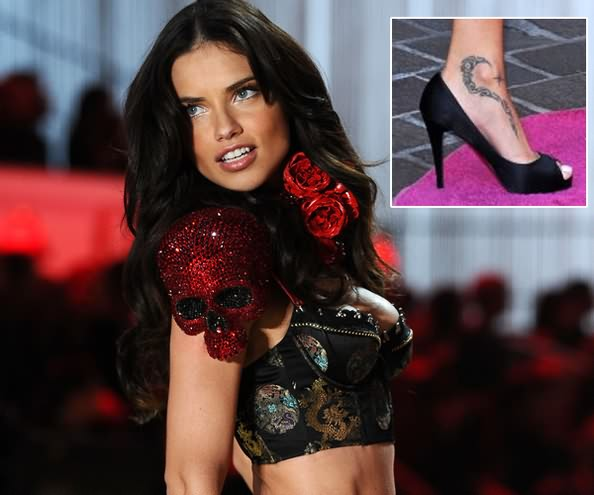 Realistic Black Color Ink Celebrity Tattoo On Ankle For Girls