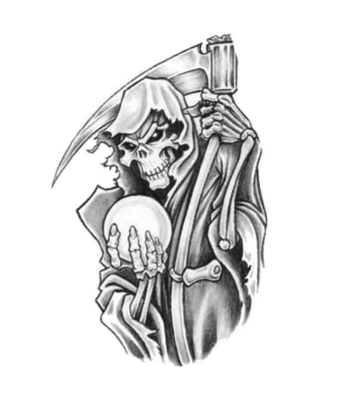 Realistic Black Color Ink Death Grim Reaper Tattoo Sample For Girls