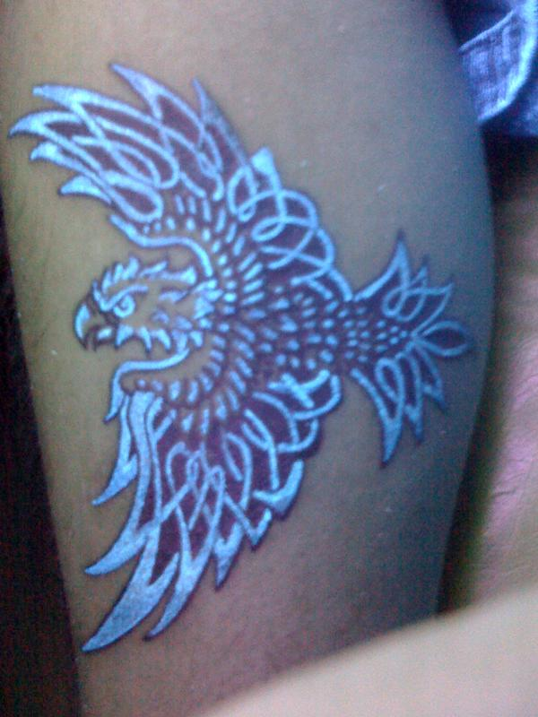 Realistic Blue Color Light My First Blacklight Tattoo On Thigh For Girls