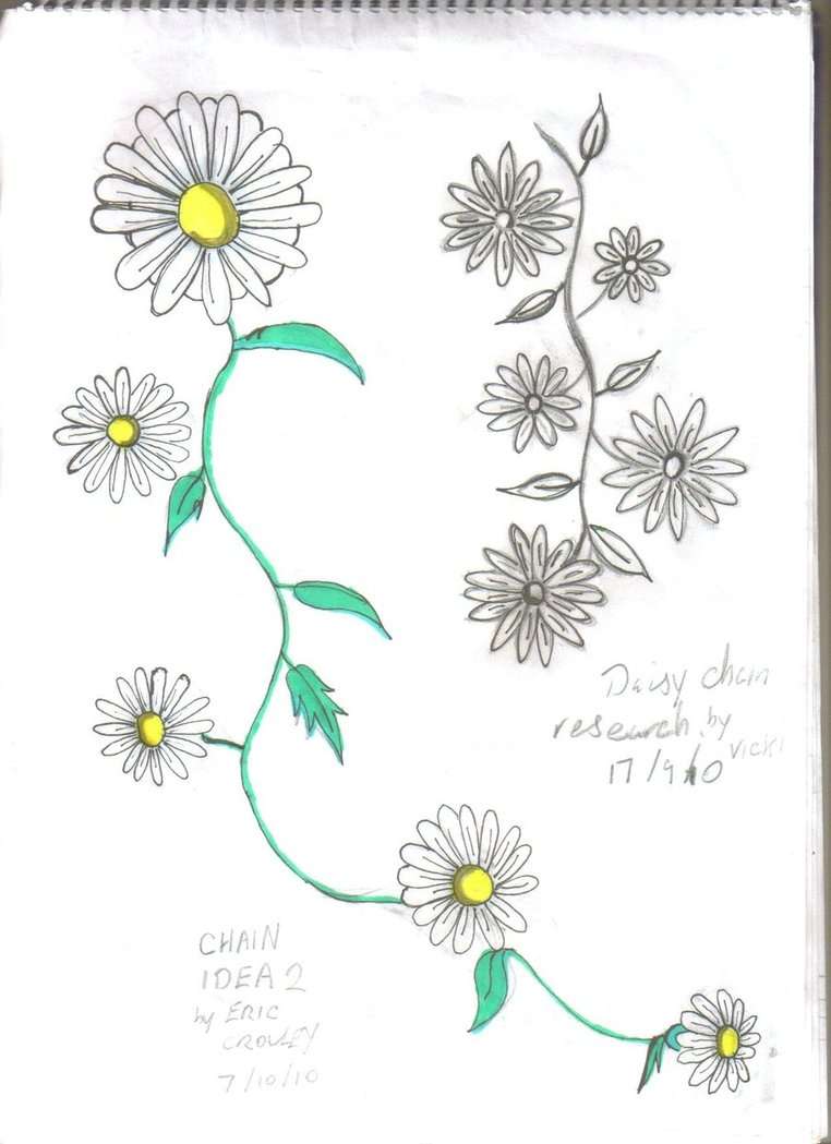 Realistic White Green And Black Color Ink Daisy Chain Tattoo Drawing For Girls