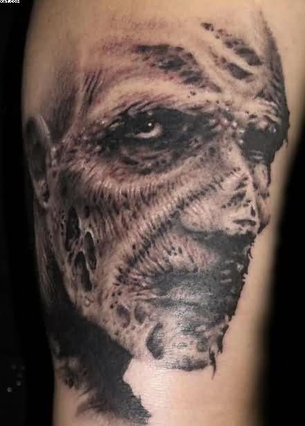 Sad Tattoo Of Zombie Face