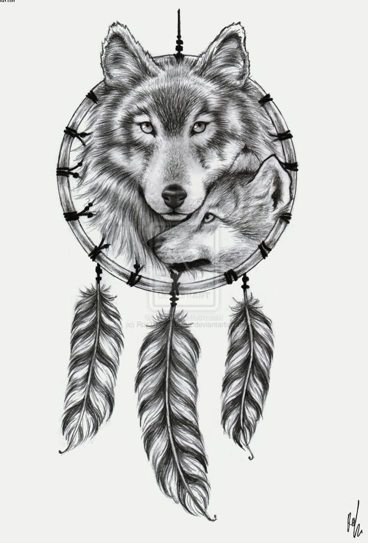 Sample Tattoo Of 2 Wolfs In Dream Catcher Tattoo