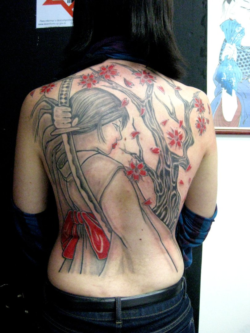 Sensation Black And Red Color Ink Asian Samurai Girl Tattoo On Back For Girls