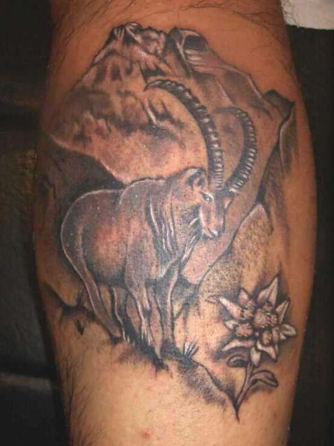 Sensation Black Color Ink Capricorn Goat & Flower Tattoo Design On Leg For Girls