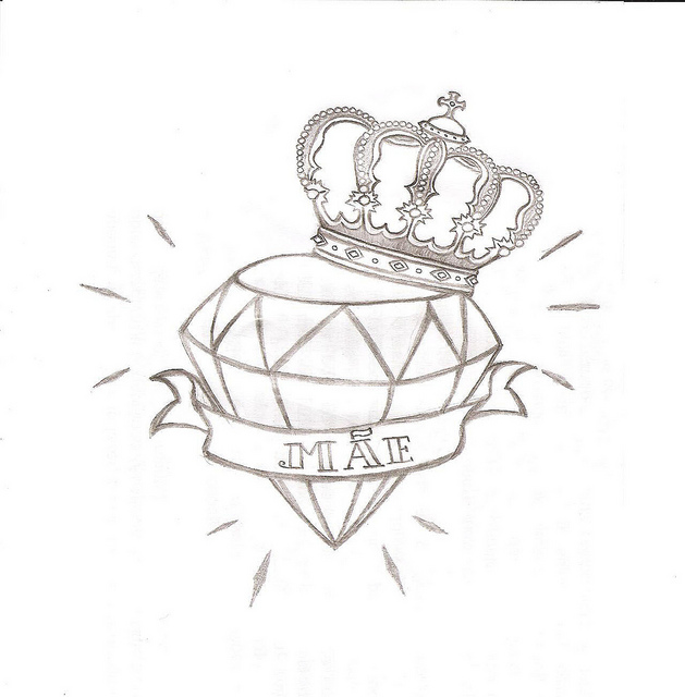 Sensation Black Color Ink Diamond n Crown Tattoo Drawing For Girls Tattoo
