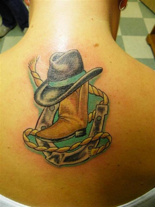 Sensation Green Yellow And Black Color Ink Country Girl Tattoo On Upper Back For Girls