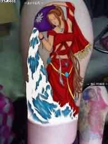 Sensation Red And Blue Color Ink Aquarius Tattoo Touch On Leg For Girls