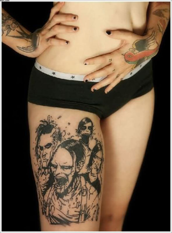 Sexy Zombie Tattoos On Thigh Of Girl