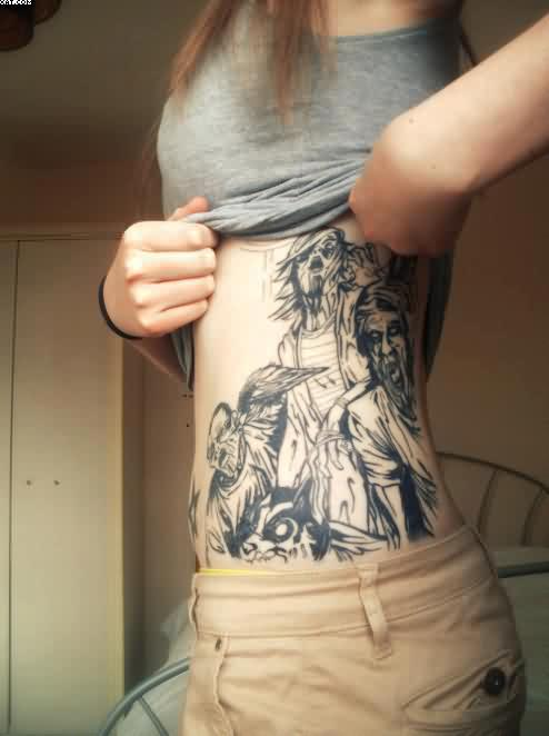 Simple Girl Showing Zombie Tattoos On Rib With Black INk