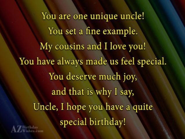 Special Greetings Happy Birthday Uncle Wishes Image