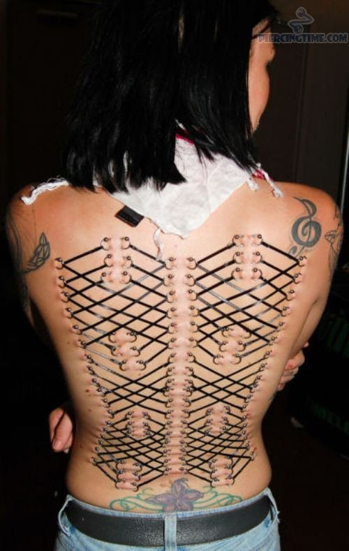 Stunning Black And Red Color Ink Design Corset Tattoo For Girls On Back