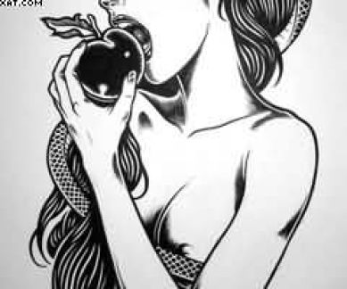 Stunning Black Color Ink Girl Eating Apple Tattoo Design For Specially Boys