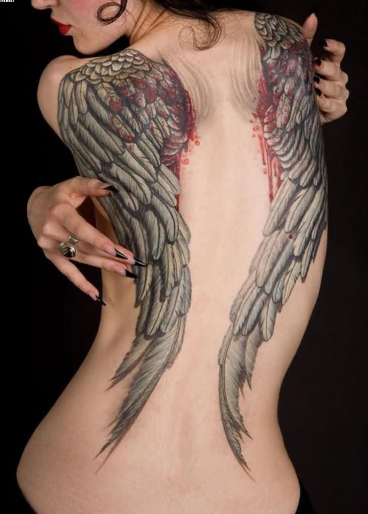 Stunning Wing Tattoo On Back With Blood For Females