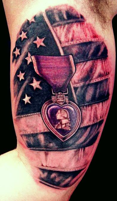 Superb Black And Red Color Ink American Flag Tattoo On Muscles For Boys