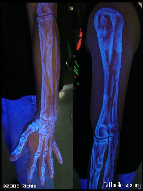Superb Blue Color Light X Ray Blacklight Tattoo On Full Arm For Boys