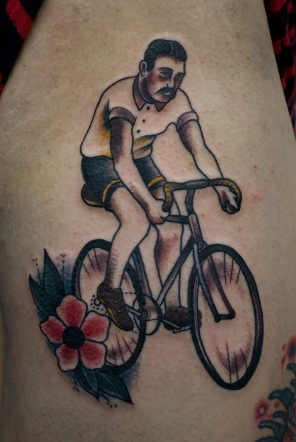 Superb Green Black And Red Color Ink Bicycle Tattoo For Boys