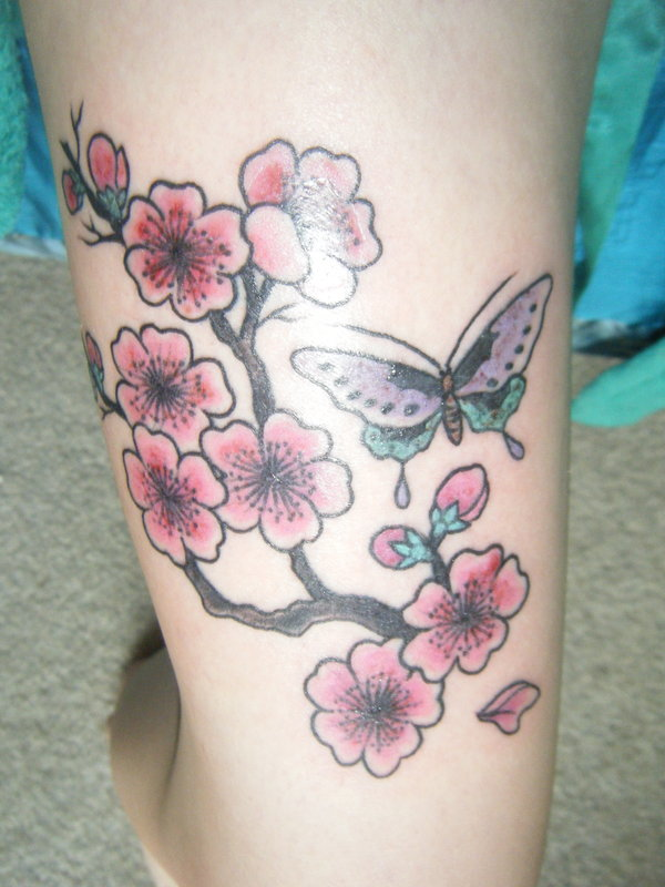 Superb Green Black And Red Color Ink My Cherry Blossom With Butterfly Tattoo For Girls