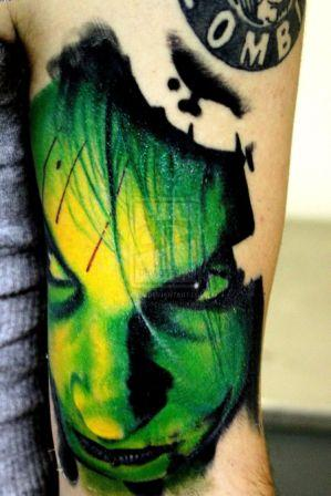 Superb Green Ink Zombie Girl Tattoo On Arm For Man