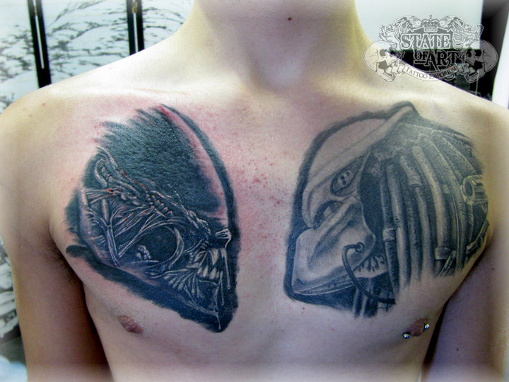 Sweet Black And Red Color Ink Angry Alien Tattoo On Chest For Boys