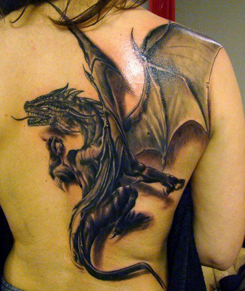Sweet Black Color Ink Asian Dragon Tattoo Design For Girls On Back Side