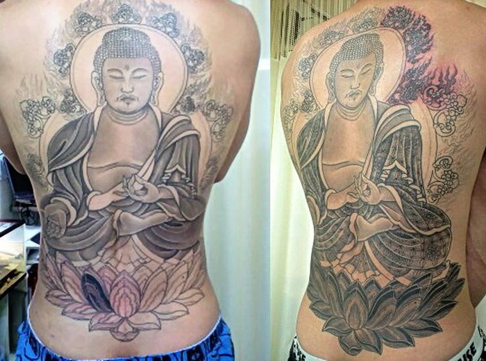 Sweet Black and Grey Color Ink Full Back Religious Buddha Tattoo On Back For Boys