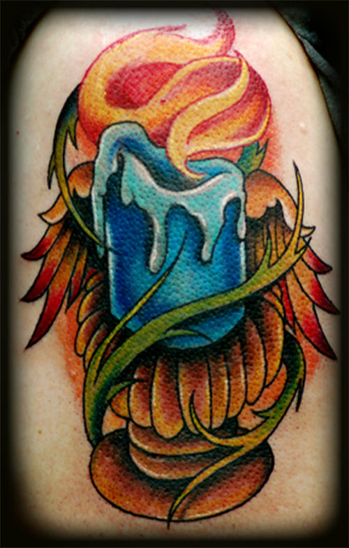 Sweet Blue Red And Green Color Ink Blue Candle Tattoo Design For Boys On Shoulder