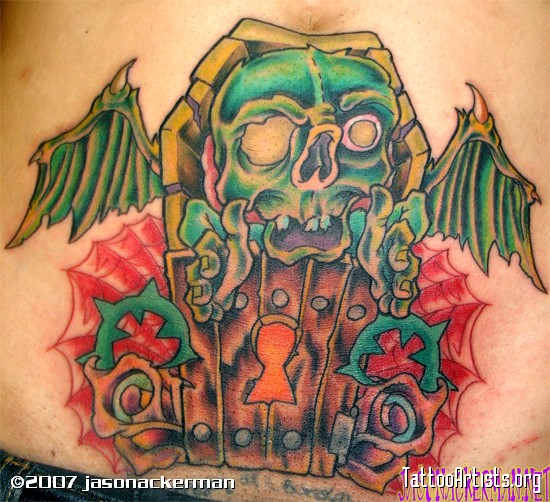 Sweet Green Blue Black And Red Color Ink Coffin Zombie Tattoo Design For Boys